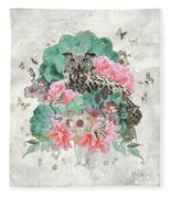 Floral Owl Fleece Blanket