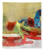 Floral Rocking Horses Fleece Blanket