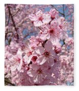 Floral Spring Art Pink Blossoms Canvas Baslee Troutman Fleece Blanket