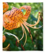 Floral Tiger Lily Flower Art Print Orange Lilies Baslee Troutman Fleece Blanket
