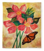 Floral With Butterfly Fleece Blanket