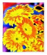 Floral Yellow Painting Lit Fleece Blanket