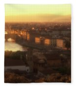 Florence And The Ponte Vecchio Dusk, Tuscany, Italy Fleece Blanket