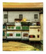 Florence - Boats Under The Ponte Vecchio Sunset - Untextured Fleece Blanket