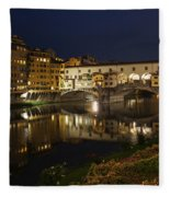 Florence Italy Night Magic - A Glamorous Evening At Ponte Vecchio Fleece Blanket