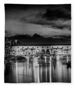 Florence Ponte Vecchio At Sunset Monochrome Fleece Blanket