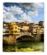Florence -  Ponte Vecchio From The Northwestern Bank - Vintage Fleece Blanket
