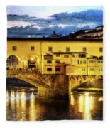 Florence - Ponte Vecchio Sunset From The Oltrarno - Vintage Version Fleece Blanket