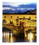 Florence - Ponte Vecchio Sunset From The Oltrarno Fleece Blanket