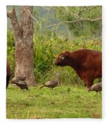 Florida Cracker Cows And Osceola Turkeys #2 Fleece Blanket