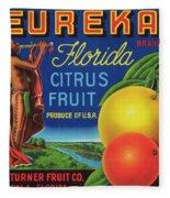 Florida Eureka Citrus Fruit Crate Label Fleece Blanket