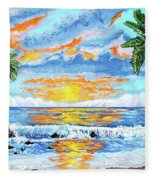 Florida Keys Beach Sunset Fleece Blanket