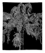 Florida Thatch Palm In Black And White Fleece Blanket