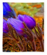 Flourescent Flowers Fleece Blanket