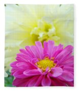 Flower Art Print White Pink Dahlia Floral Canvas Baslee Troutman Fleece Blanket