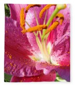 Flower Art Prints Pink Orange Lily Flower Giclee Baslee Troutman Fleece Blanket