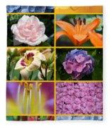 Flower Collage 1 Fleece Blanket