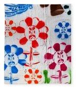 Flower Face Murial Fleece Blanket