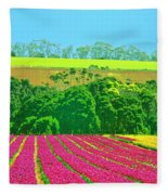Flower Farm And Hills Fleece Blanket