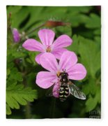 Flower Fly On Stinky Bob Fleece Blanket