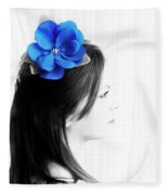 Flower Girl Blue Selective Colour Fleece Blanket