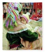 Flower Hmong Mother And Baby 02 Fleece Blanket