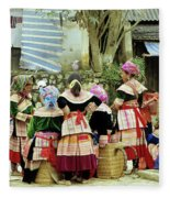 Flower Hmong Women 02 Fleece Blanket