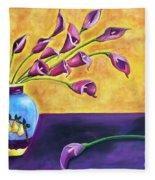 Flowers In Blue Vase Fleece Blanket