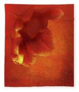 Flower In Red Fleece Blanket