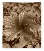 Flower In Sepia Fleece Blanket