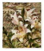 Flower - Lily - White Lily Fleece Blanket