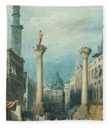 flower market in Vicenza Fleece Blanket