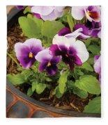 Flower - Pansy - Purple Pansies Fleece Blanket