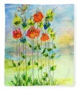 Flower Patch With Butterfly Fleece Blanket