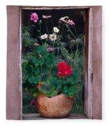 Flower Pot In Window Fleece Blanket