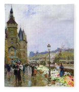 Flower Sellers By The Seine Fleece Blanket