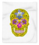 Flower Skull 3 Fleece Blanket