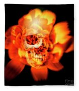 Flower Skull Fleece Blanket