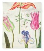 Flower Studies  Tulips And Blue Iris  Fleece Blanket