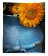 Flower - Sunflower - Little Blue Sunshine  Fleece Blanket