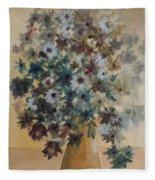 Flower Vase Original Watercolor Fleece Blanket