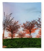 Flowering Young Cherry Trees On A Green Hill In The Park  Fleece Blanket