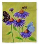 Flowers And Butterflies Fleece Blanket