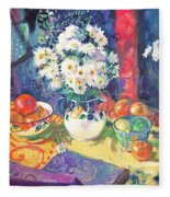 Flowers And Fruit In A Green Bowl Fleece Blanket