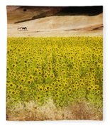 Flowers And Horses Near Setinil Spain Fleece Blanket