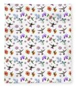 Flowers And Hummingbirds 1 Fleece Blanket