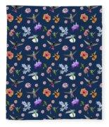 Flowers And Hummingbirds 2 Fleece Blanket