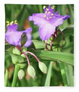 Flowers And Raindrops Fleece Blanket