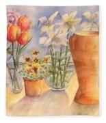 Flowers And Terra Cotta Fleece Blanket