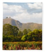 Flowers And Two Trees Fleece Blanket